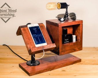 Wood Utility Storage Lamp With Pipe Stand With By