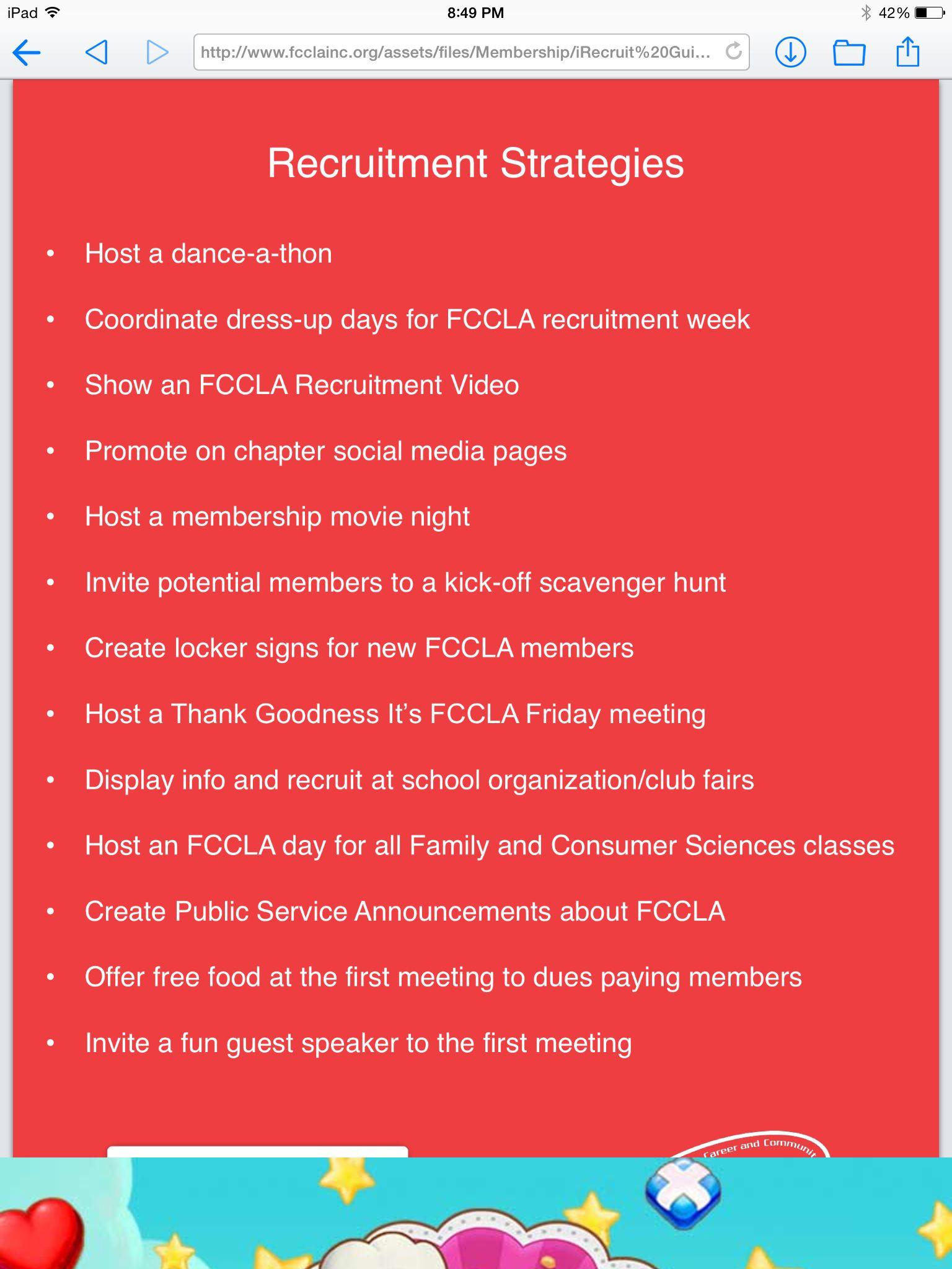 Recruitment Strategies For Fccla