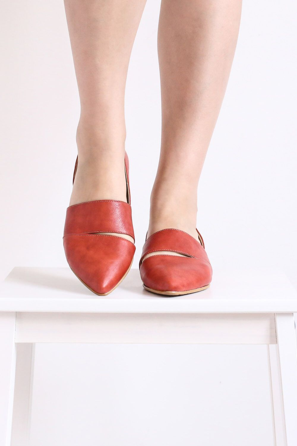61f0f8948c Women's pointy flats , Red rose leather Pointed toe Slip-Ons shoes, handmade  ADIKILAV