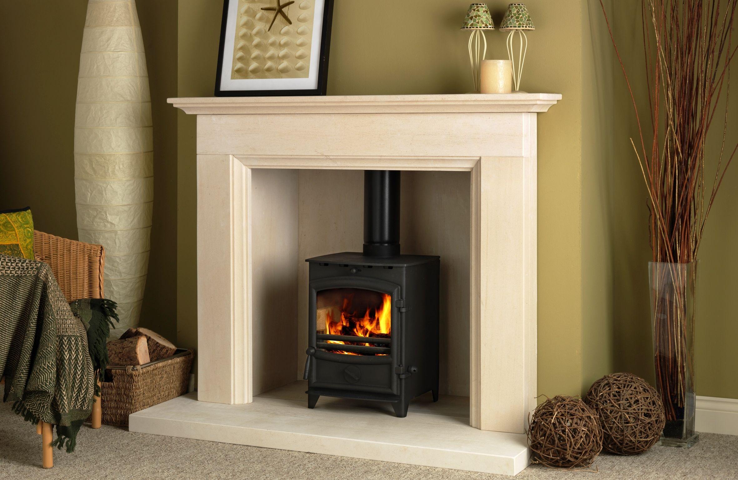 Interior Beautiful Black Wood Burning Fireplace Design Idea White