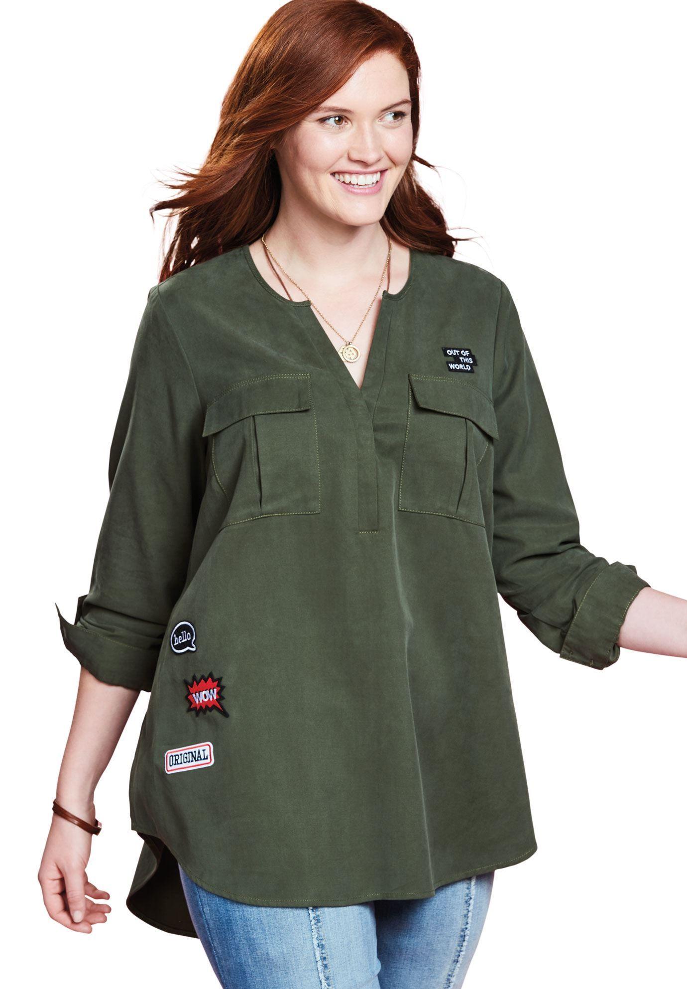 d0fa112d858 Utility Patch Tunic by Chelsea Studio - Women s Plus Size Clothing   plussizecoatstunics