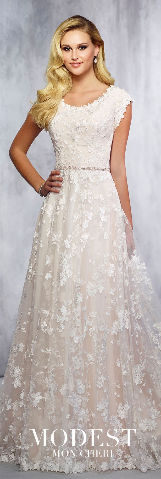 Lace cap sleeve a line wedding dress  Modest Wedding Dresses Fall  Collection  TR  lace and