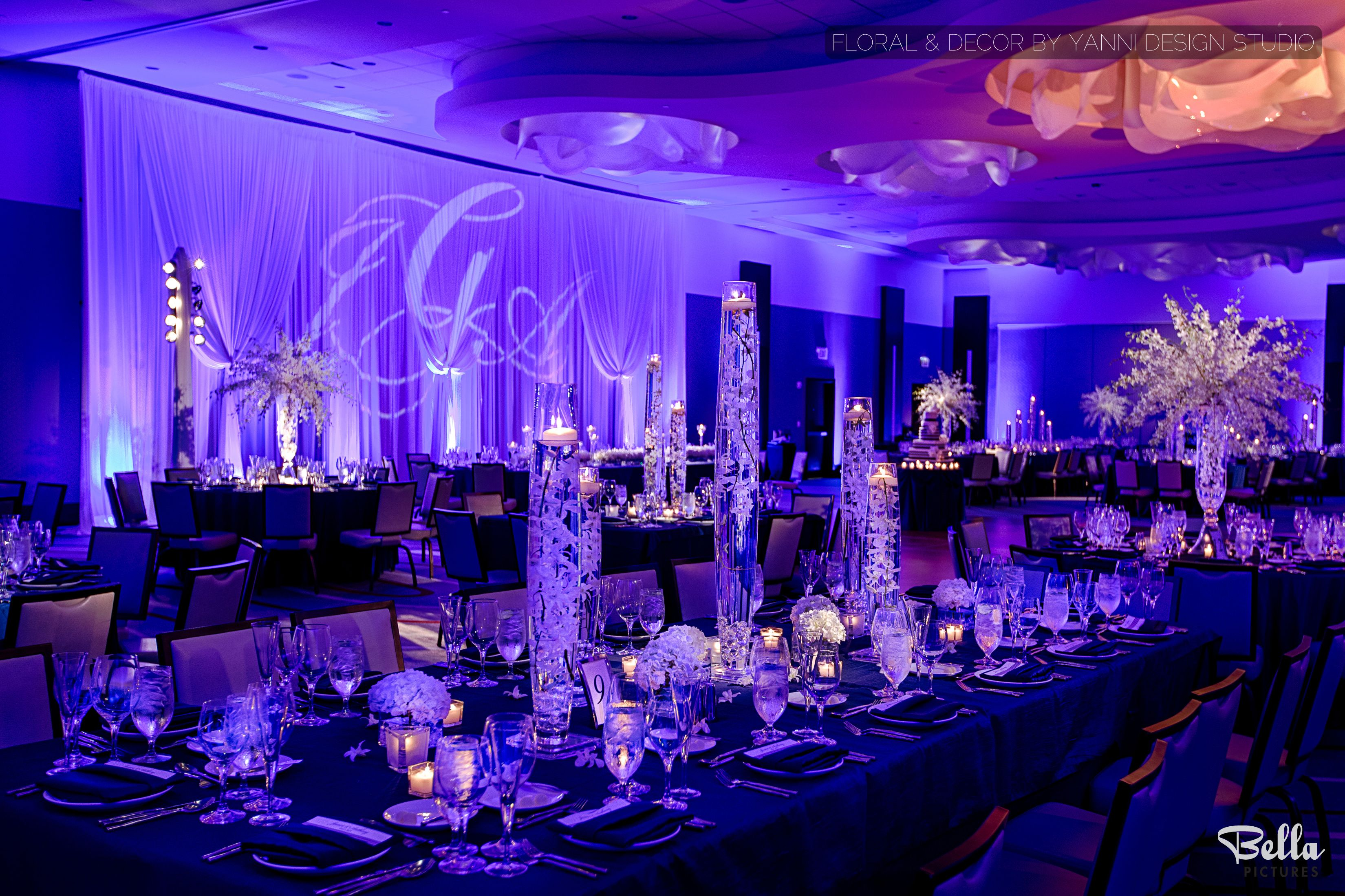 Modern led light wedding reception decor at the loews for Hotel wedding decor