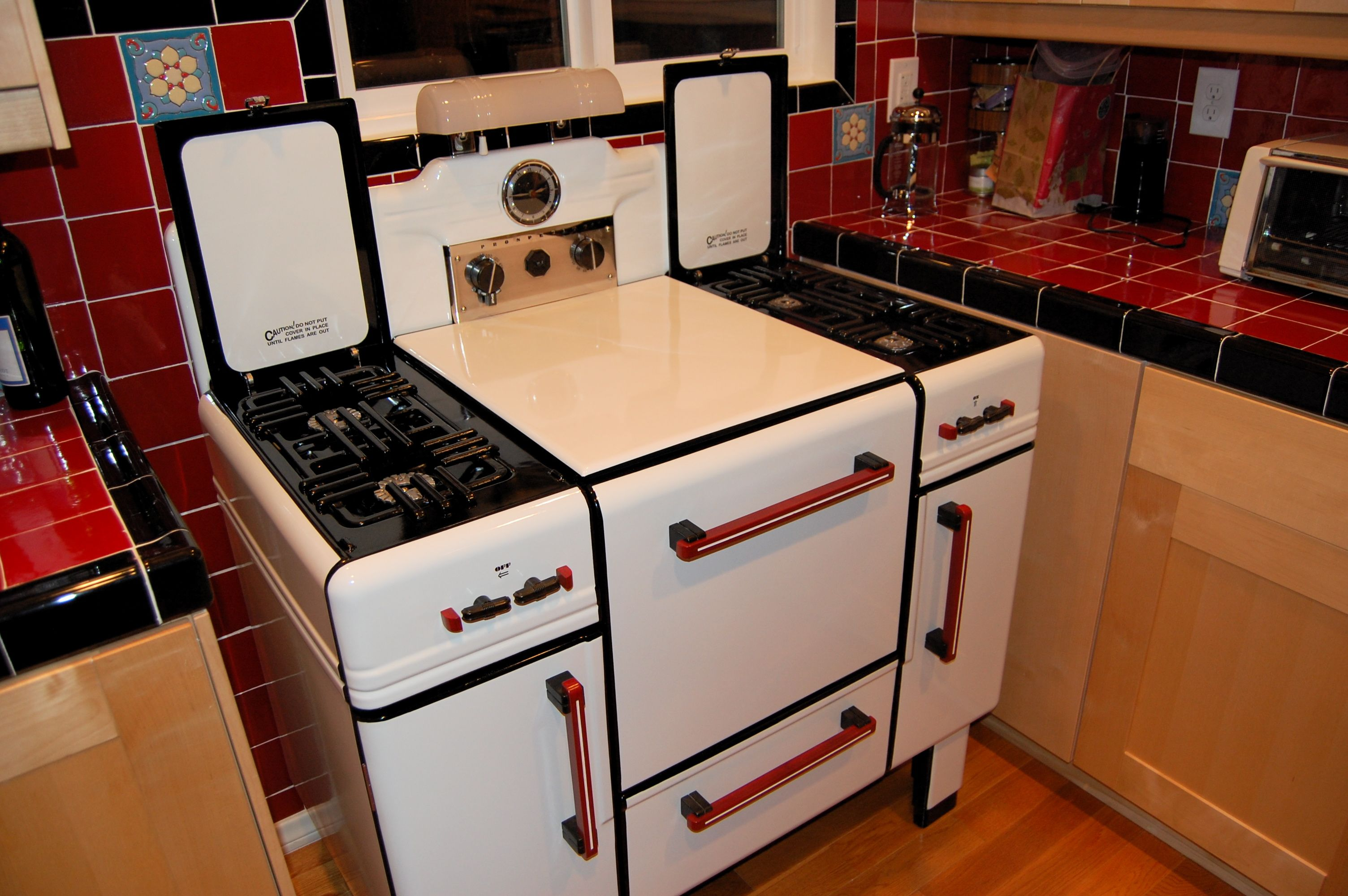 1930s Sears Prosperity Deco Industrial Design Vintage Stoves Double Wall Oven Kitchen Appliances