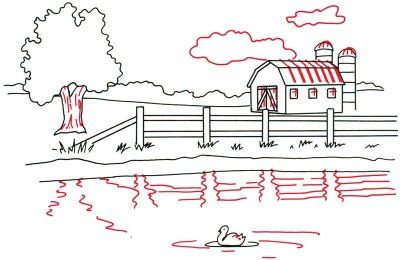 How To Draw Landscapes Drawings Barn Painting Simple Line Drawings