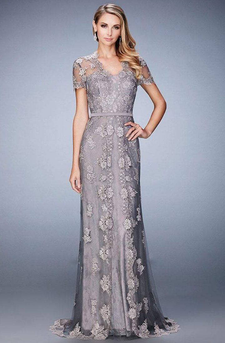 Photo of La Femme – 21897 Short Sleeved Lace Embroidered Evening Gown