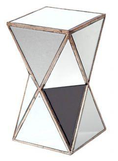 Antique Silver Vintage Style Venezia Mirrored Angled Triangular Pedestal Plant Stand