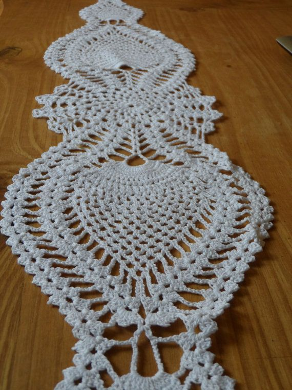 Camino de mesa tejido al crochet en forma de motivo de piñas algodon ...