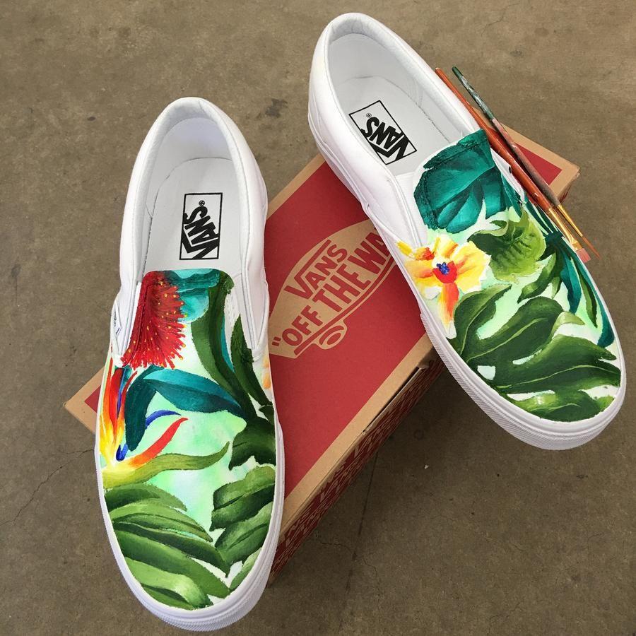 5246a114fa124b custom painted tropical floral vans shoes