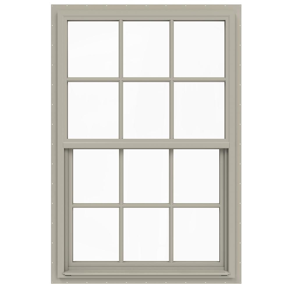 Jeld Wen 36 In X 54 In V 4500 Series Desert Sand Single Hung Vinyl Window With 6 Lite Colonial Grids Grilles Double Hung Windows Windows Grey Exterior