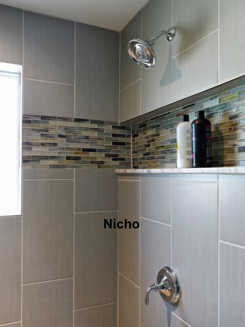 Install A Shelf Like This In Our Master Bath Shower  Home Ideas Extraordinary Bathroom Accent Tile Design Inspiration