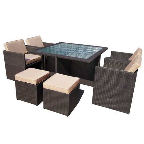 Buy Euro 9pc PE Wicker Outdoor Garden Furniture Dining Setting - Brushed  Brown Online Australia - Euro 9pc PE Wicker Outdoor Garden Furniture Dining Setting - Brushed