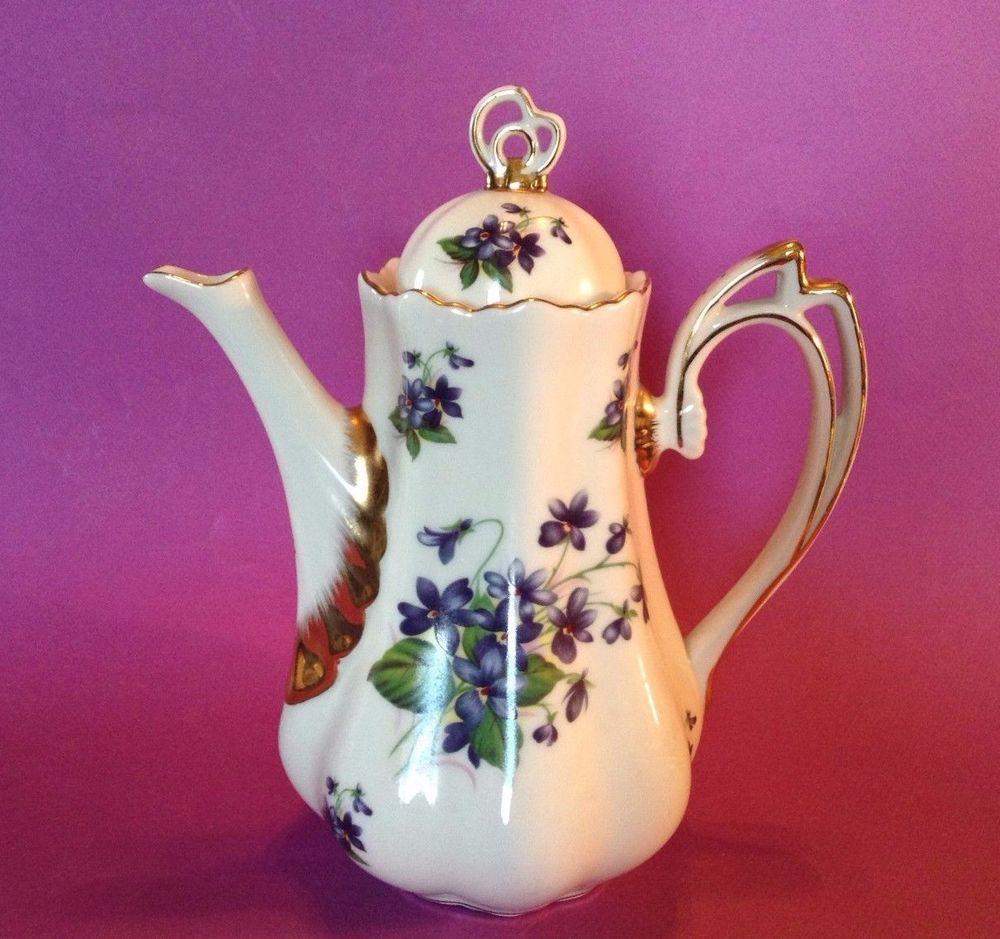 Churchill Briar Rose Coffee Pot Teapot - Made In Staffordshire ...