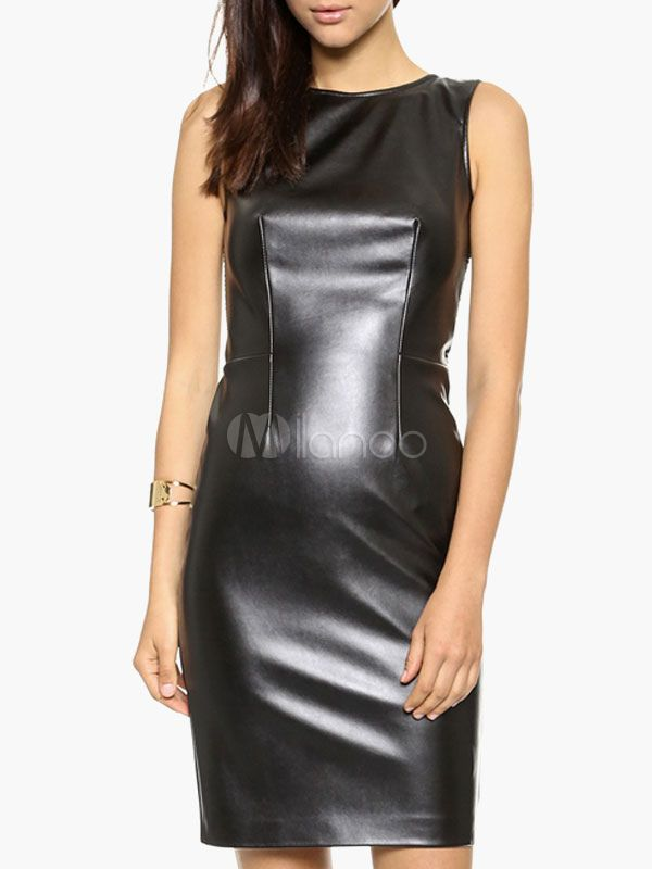 Black PU Leather Bodycon Dress - Milanoo.com