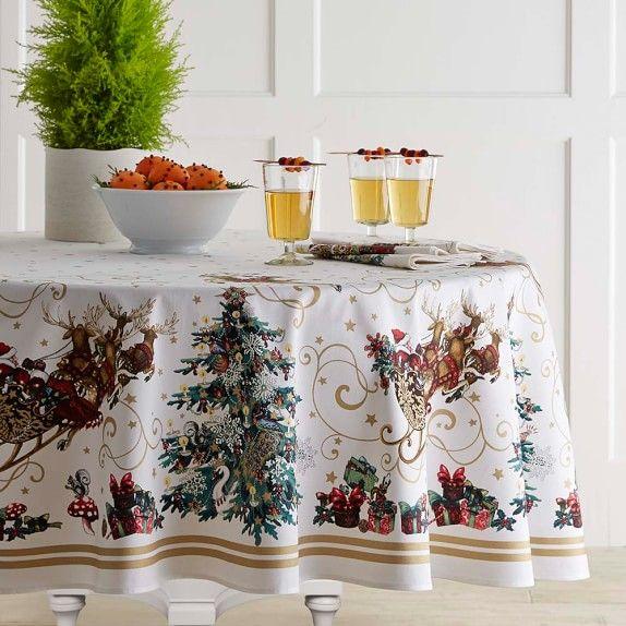 Twas The Night Tablecloth Christmas Table Cloth Round Christmas Tablecloth Christmas Table Linen