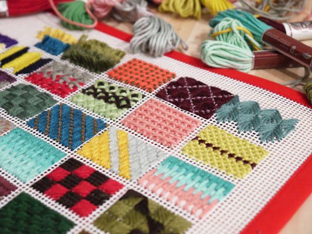 Puntos en rejilla para tapices o alfombras de trapillo - Tapices para pared ...