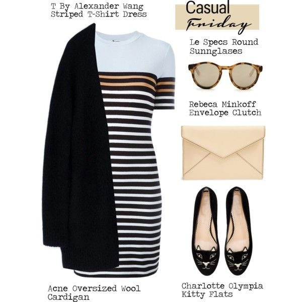Casual Friday by alaria on Polyvore featuring T By Alexander Wang, Acne Studios, Charlotte Olympia, Rebecca Minkoff, Le Specs, stripes and casualfriday