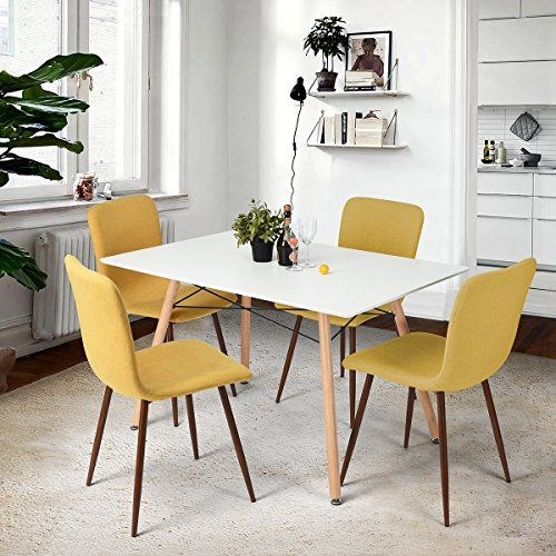 Homycasa Set Of 4 Eames Style Fabric Cushion Chairs Comfortable Dining Room  Chairs YELLOW ** Find Out More About The Great Product At The Image Link.