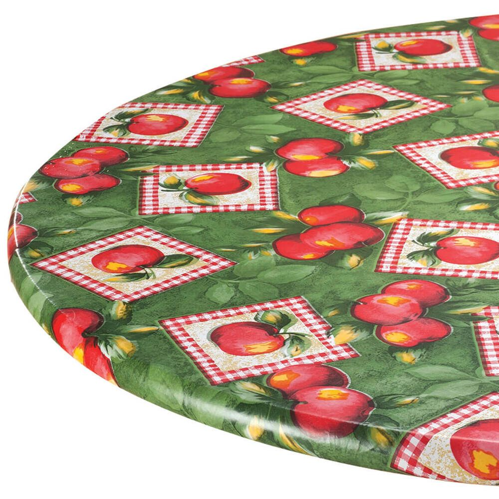 Oval Elasticized Table Cover Apple Fruit Floral Fitted Vinyl Tablecloth 42 X 68 Na Vinyl Tablecloth Table Cloth Table Covers