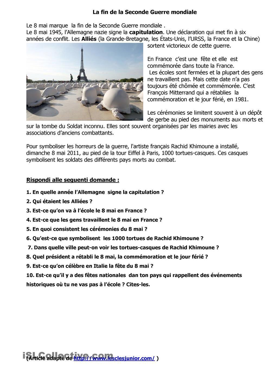 La Fin De La Seconde Guerre Mondiale Et L Installation De 100 Tortue A Paris Grammaire Francaise Seconde Guerre Mondiale Comprehension De Lecture