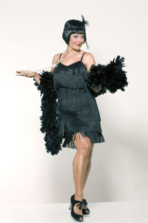 Classic 1920s style black fringe flapper dress