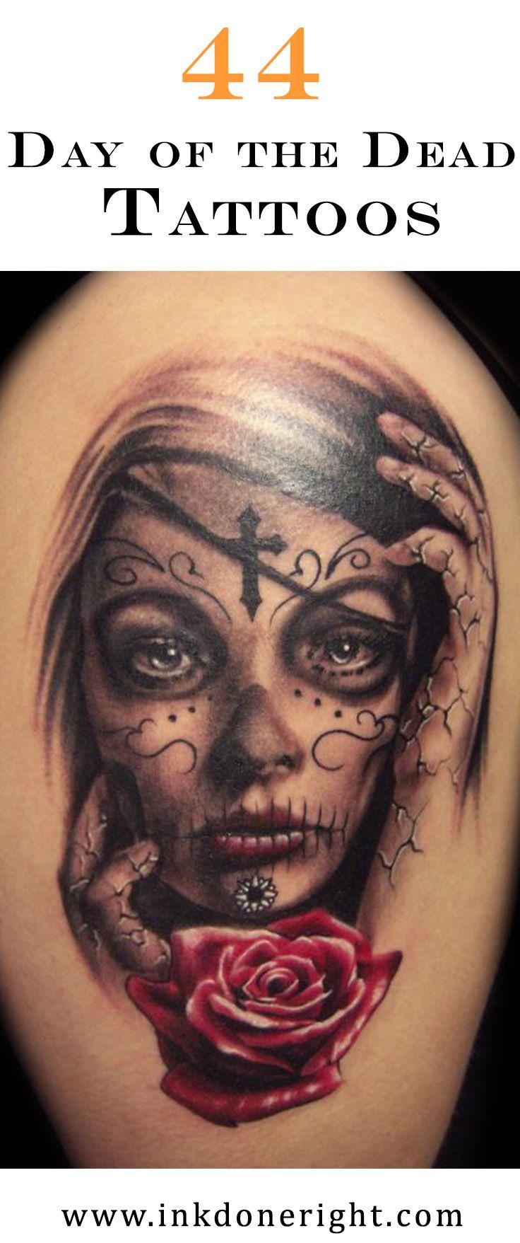 44 Day of the Dead Tattoos Gallery! Skull girl tattoo