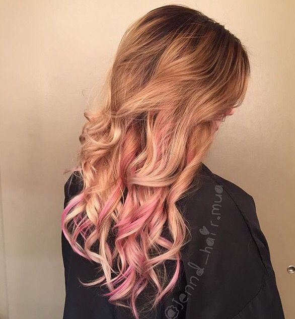 Shadow Root Blonde With Pink Peekaboos Hair P