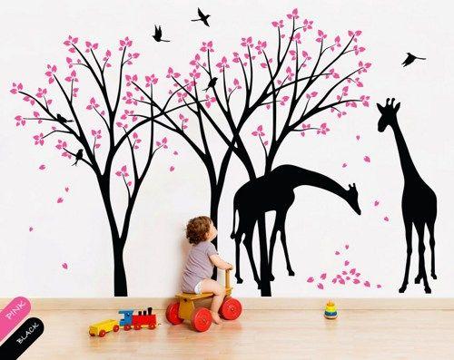 Animal Wall Art tree wall decals giraffe birds vinyl wall sticker art kids decor