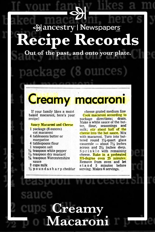 Ancestry's Recipe Records