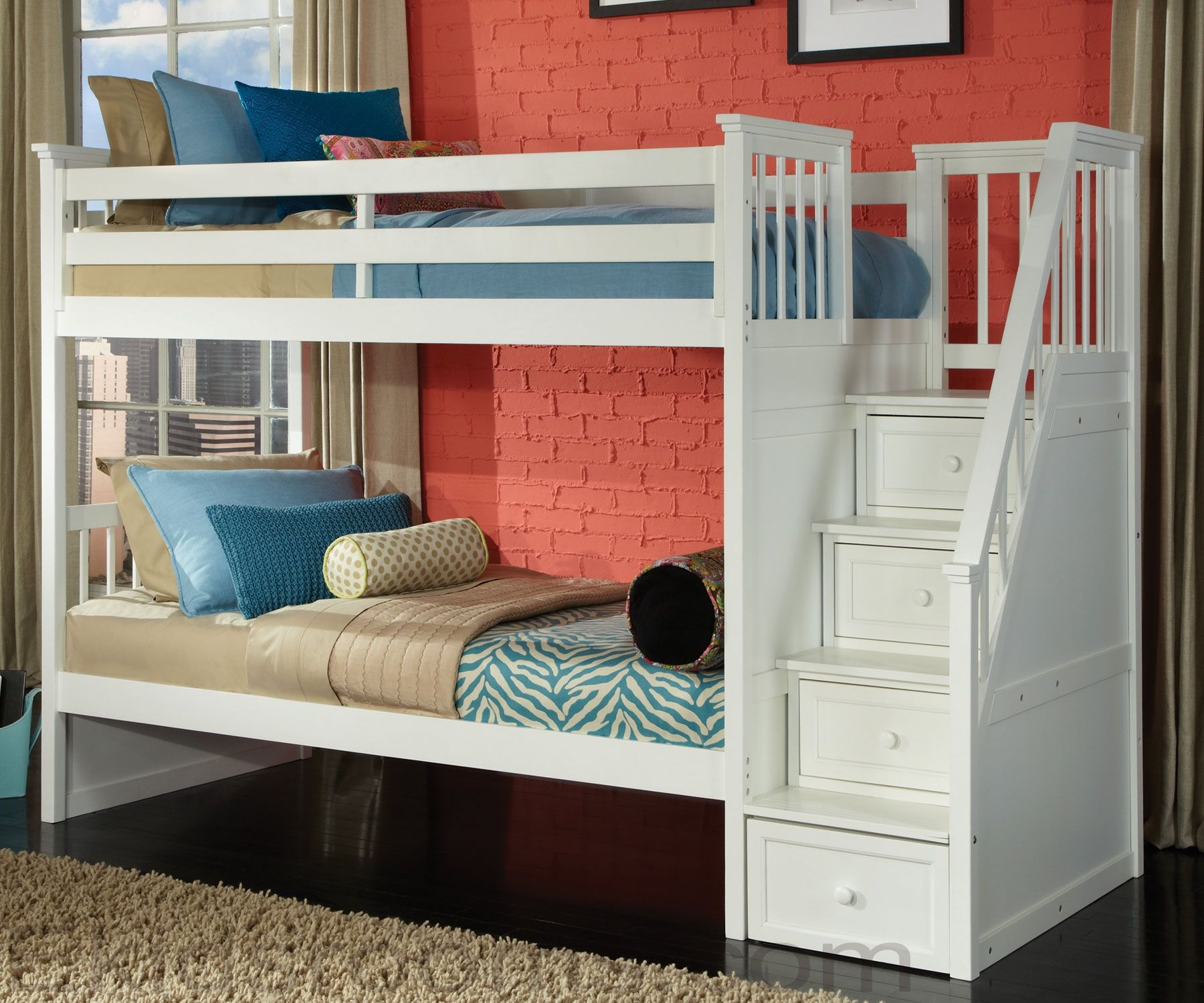 Boys' twin loft bed with storage steps  School House Staircase Bunk Bed White  Pinterest  Staircase bunk