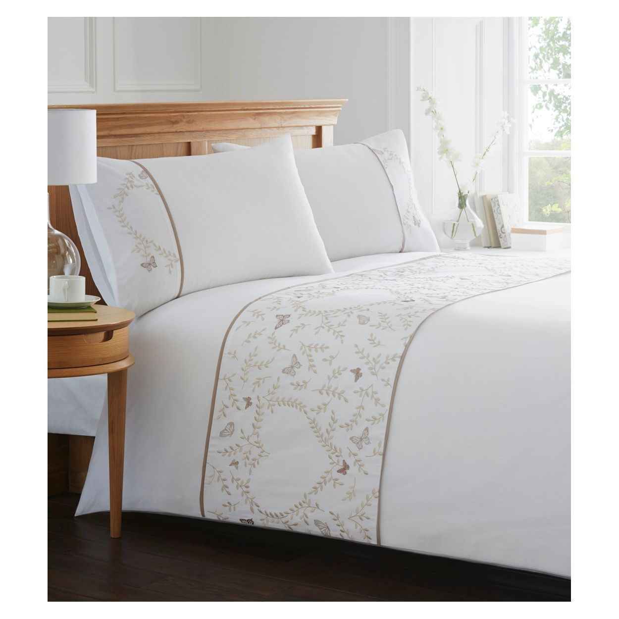 Home Collection White butterfly and heart print bedding set    Debenhams. Home Collection White butterfly and heart print bedding set