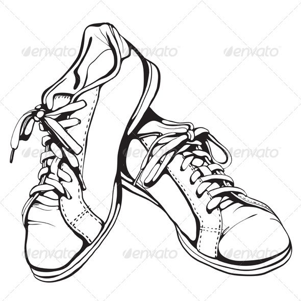 Shabby Running Shoes In Black Ink Black And White Boots Shoes Clipart Old Shoes