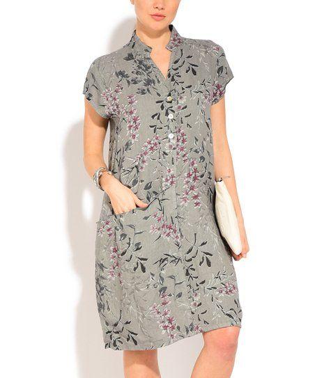 Couleur Lin Gray Floral Linen Shirt Dress - Women & Plus   zulily ...