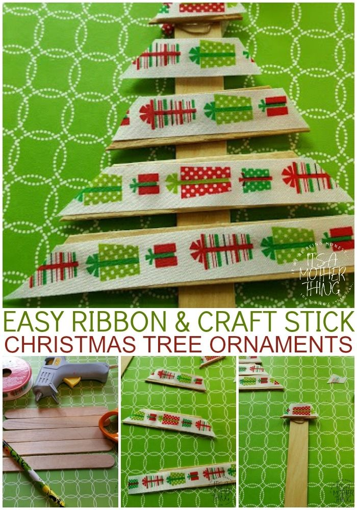 easy ribbon and craft stick christmas tree ornaments