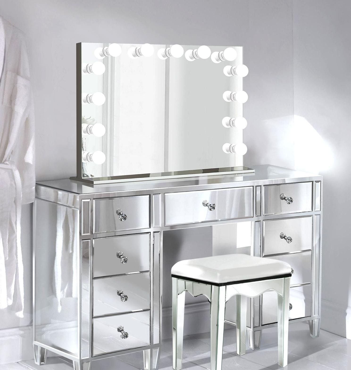 Glam Mirrored Makeup Vanity Set Includes Glam Hollywood
