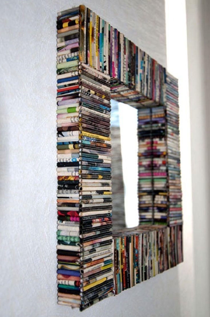 7 Diy Creative And Unique Mirror Frames Ideas Diy Newspaper Decorations Mirror Frame Diy Diy Newspaper