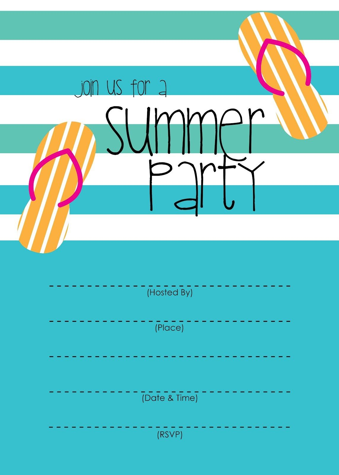 Summer Party Invitation Free Printable Party Invite Template Block Party Invitations Pool Party Invitation Template
