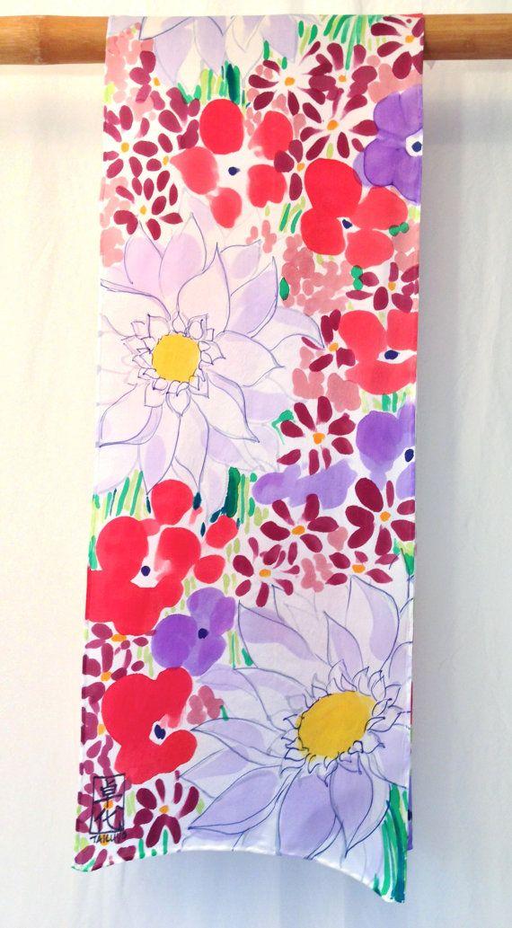 Handpainted silk scarf Rainbow Wildflower Garden Silk Floral