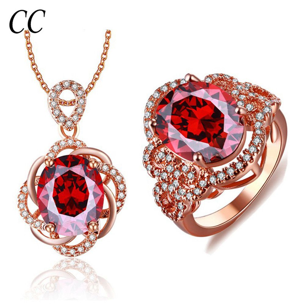 Luxury bridal jewelry sets for women red fine cz ring and crystal
