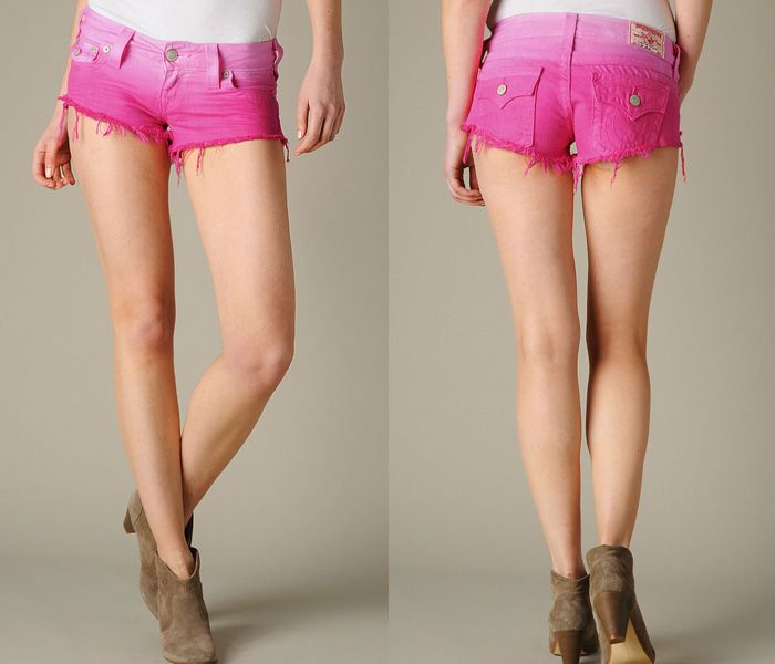 6) True Religion Womens Joey Cut Off Ombre Denim Shorts in XW ...
