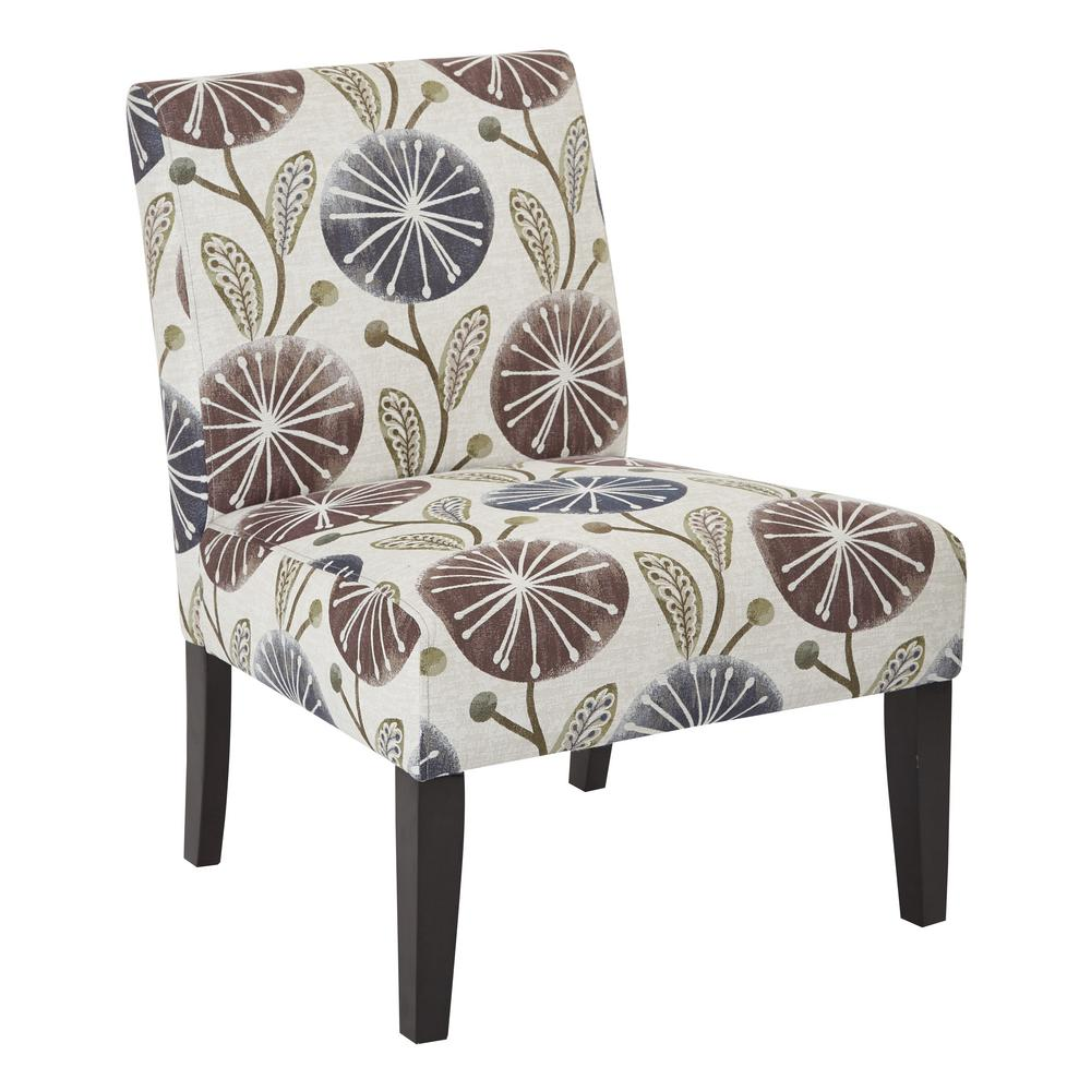 Ave Six Laguna Accent Chair Dandelion Plum Dark Espresso: OSP Home Furnishings Laguna Dandelion Chair, Dandelion