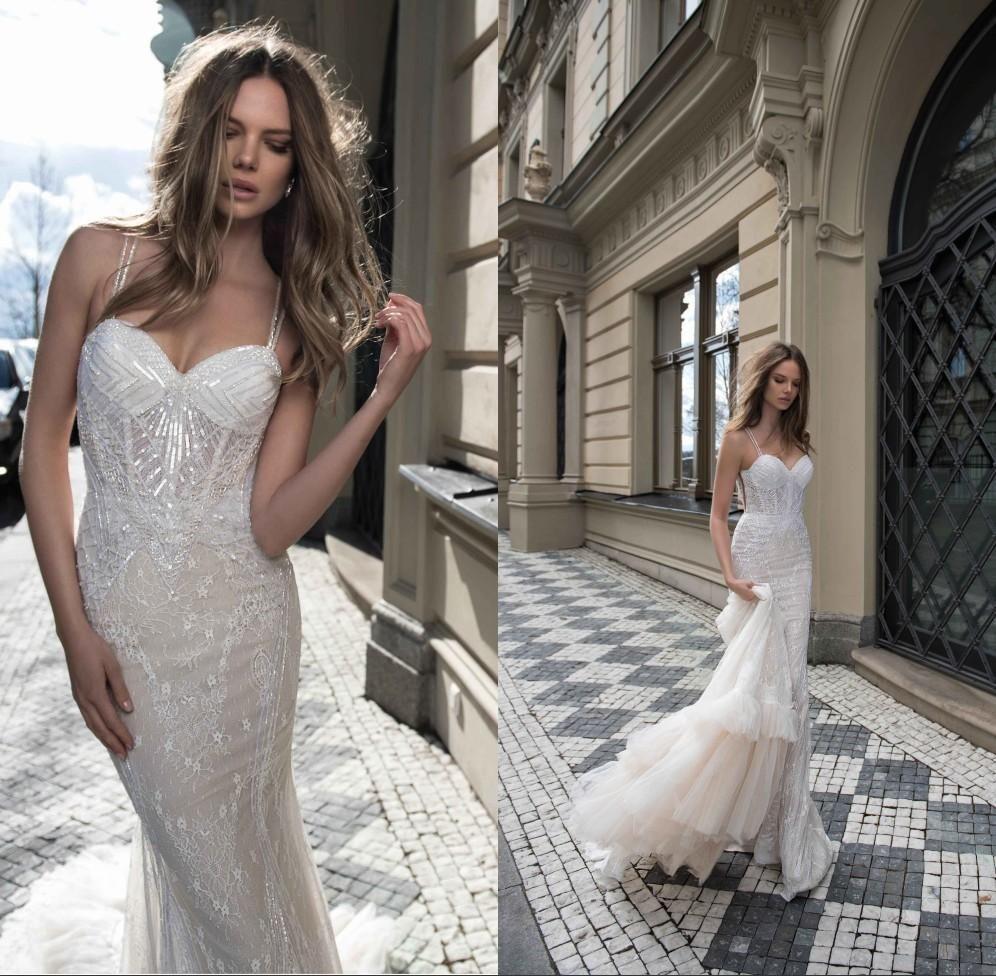 Beach wedding dress under 500  Berta  Sexy Spaghetti Bling Full Lace Mermaid Wedding Dresses