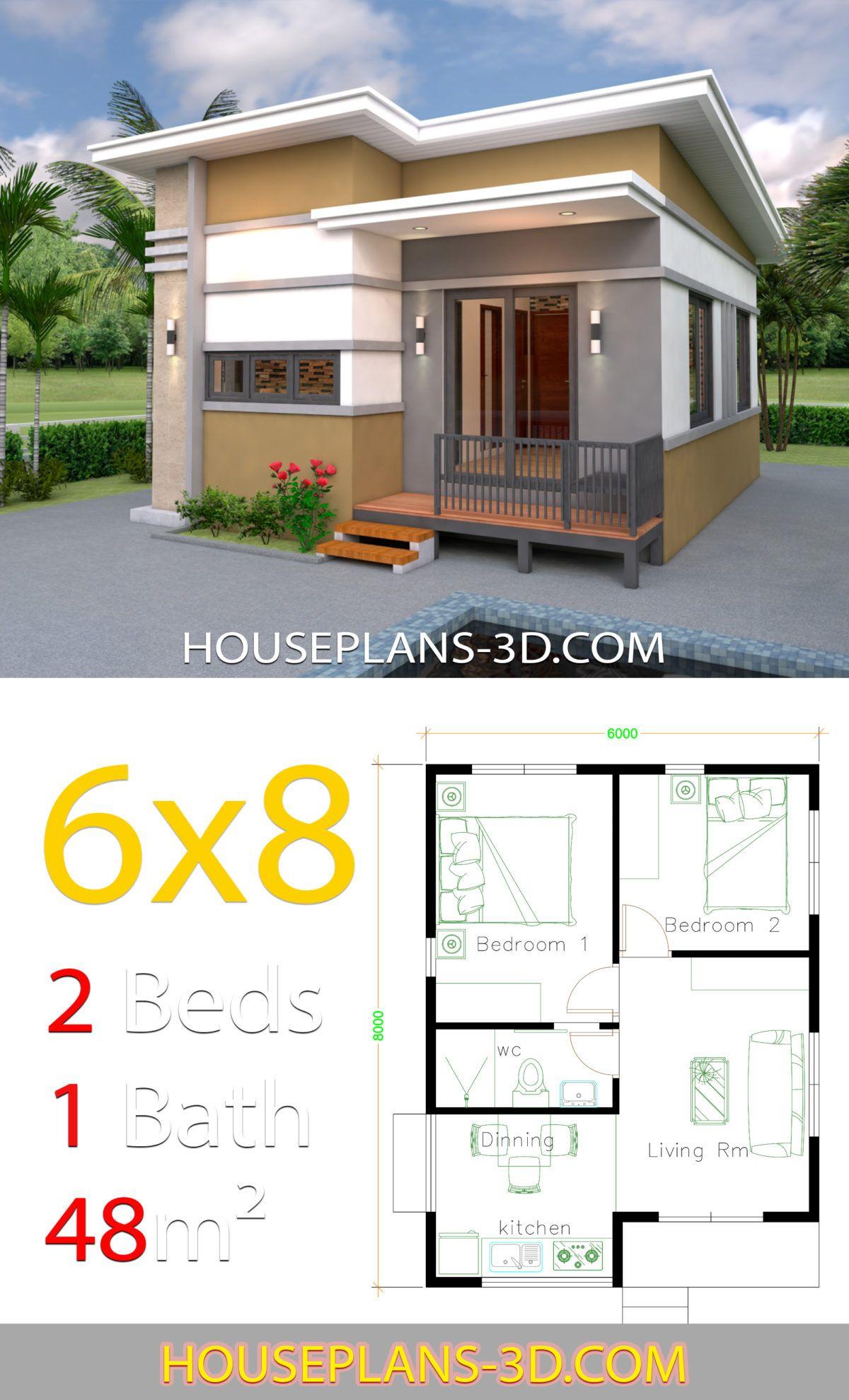 House Design 6x8 With 2 Bedrooms House Plans 3d Arsitektur Rumah Rumah Indah Arsitektur Modern