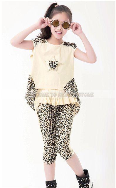 4387ddec6ca Baby Girls Clothing Sets Leopard Print Children'S Wear Cotton Casual ...