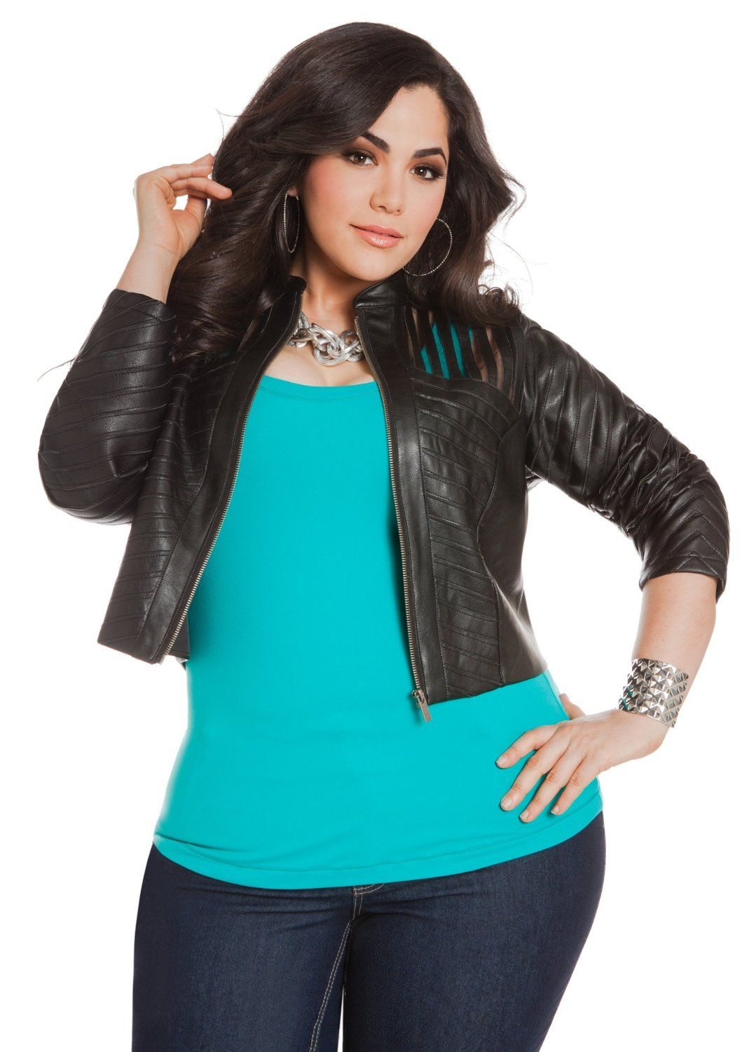 ashley stewart women's plus size faux leather & mesh jacket