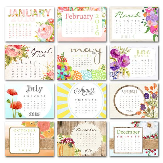 Calendar, 2020 Printable floral desk calendar, watercolor