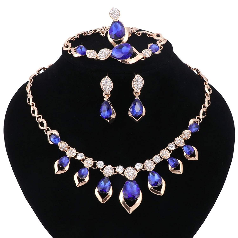 Women Red/Blue Zircon Water Drop Crystal Jewelry Set Party