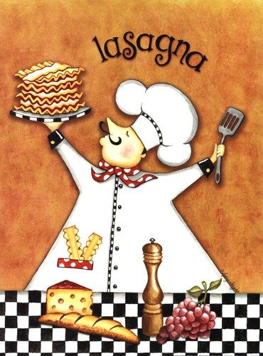 Chef Lasagna Fat chef Kitchen art, Kitchen wall art, Cafe art