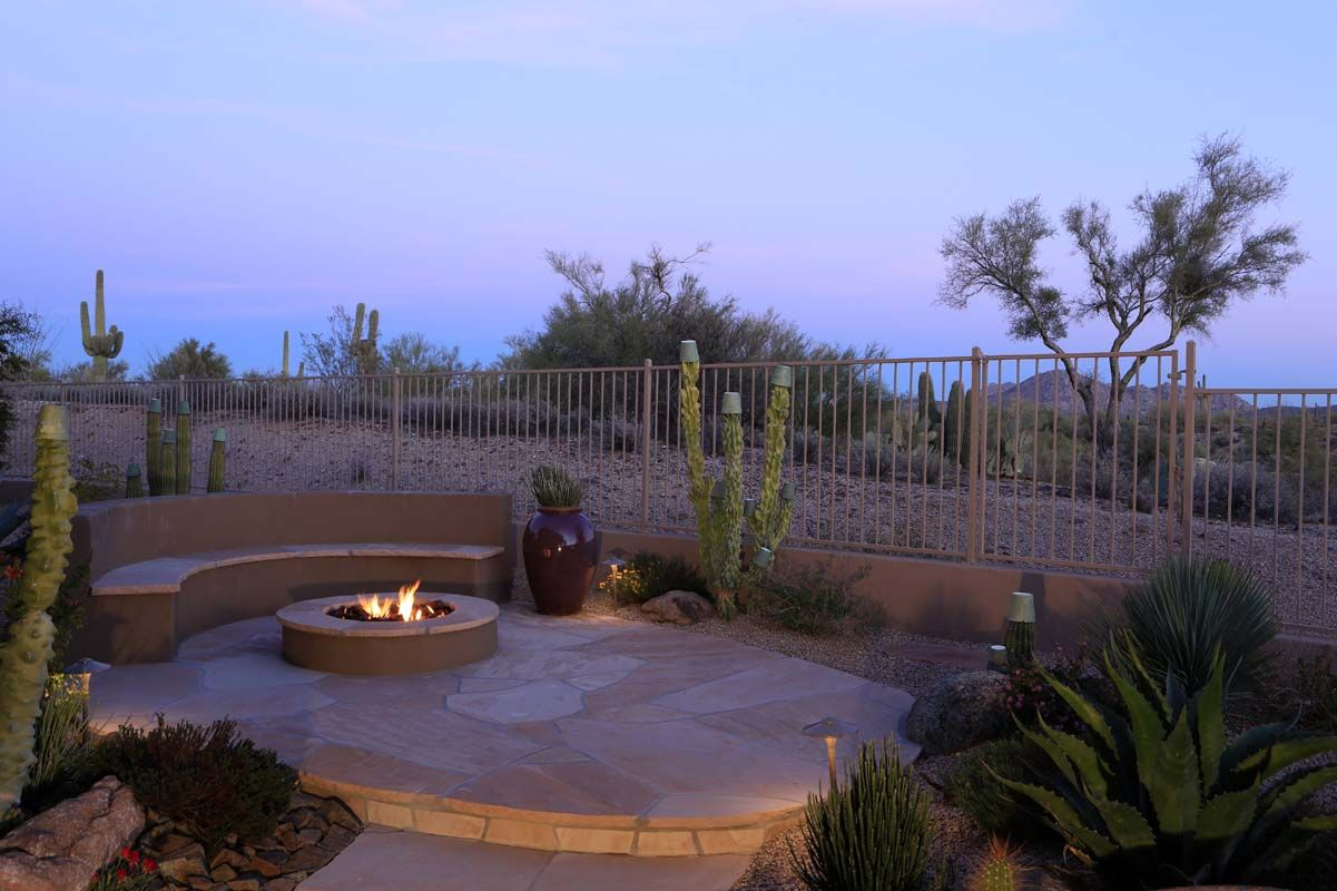 firepit in your desert backyard already have the flagstone patio
