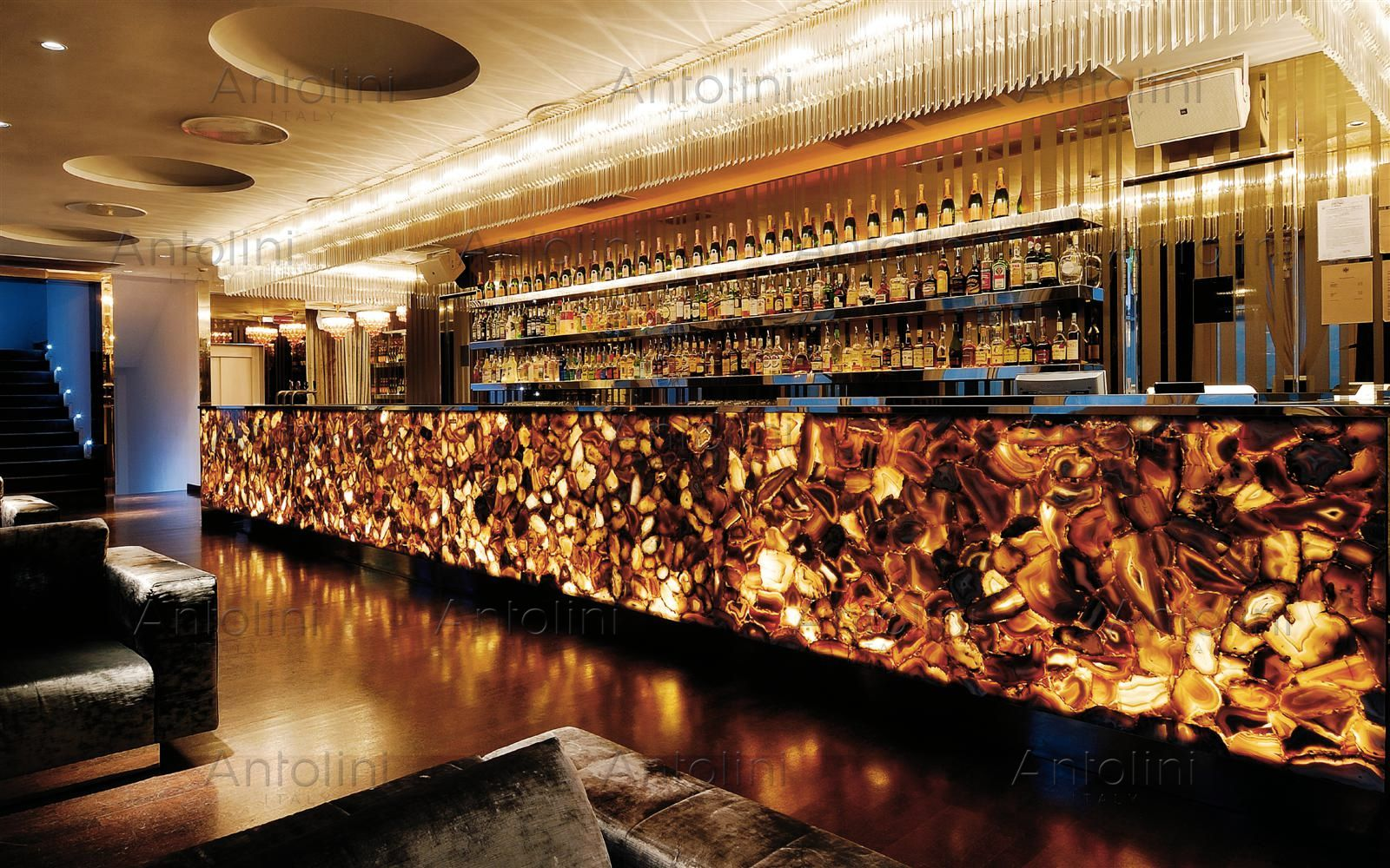 lotvs lounge in milan - antolini backlit semiprecious stone slabs